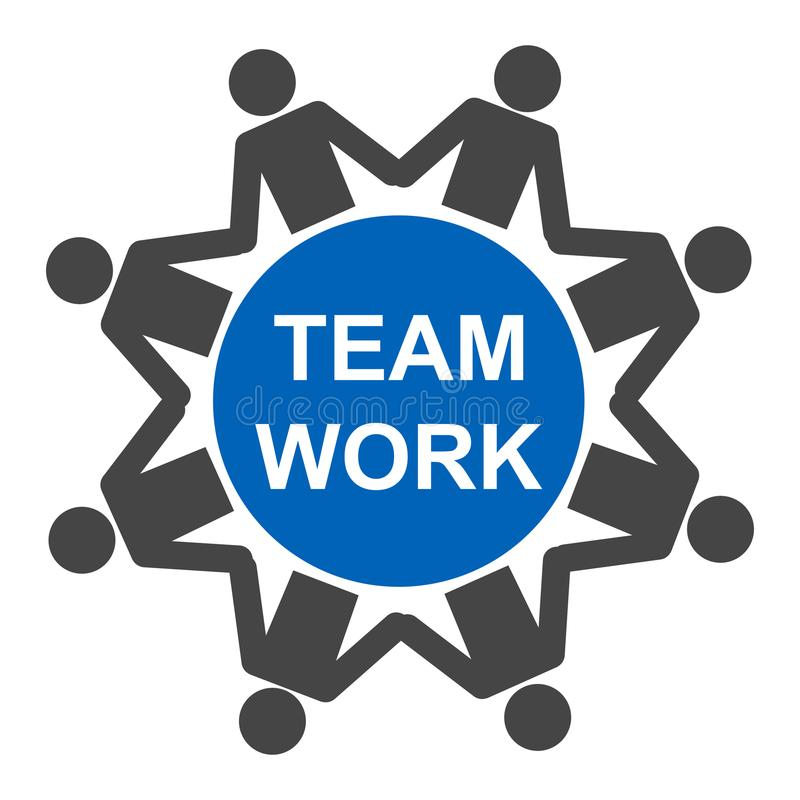 Teamwork, staff, partnership icon in circle - vector royalty free illustration