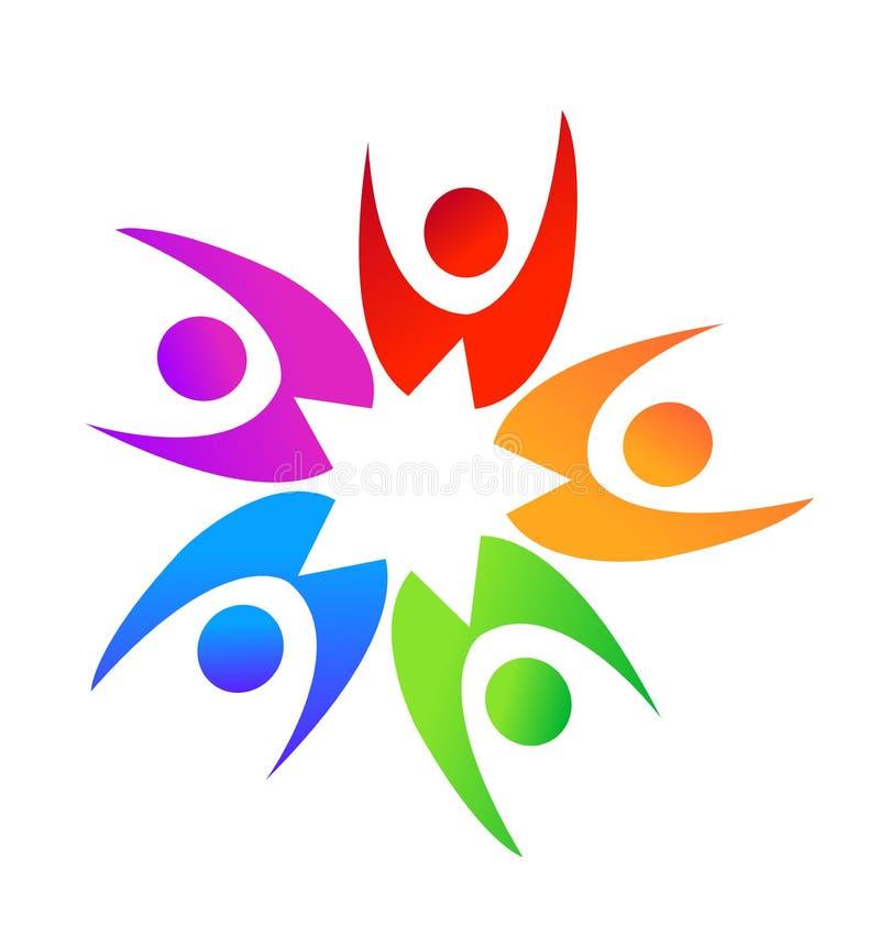 Teamwork star shape people logo stock illustration