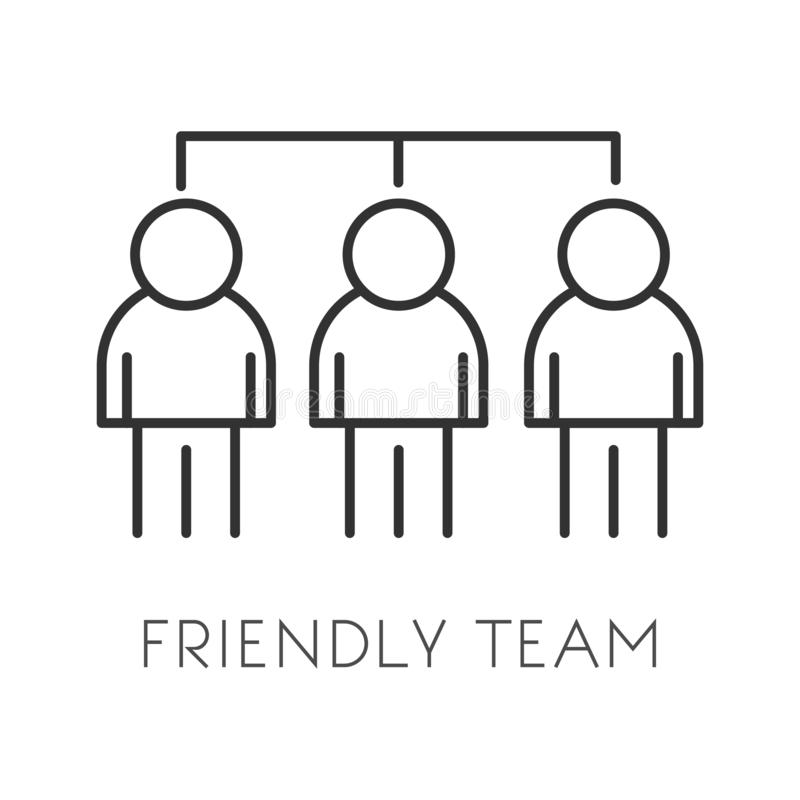 Startup employees, teamwork and cooperation, co-working isolated icon royalty free illustration