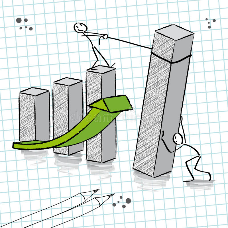 Teamwork. With teamwork for success, bar chart and upturn stock illustration