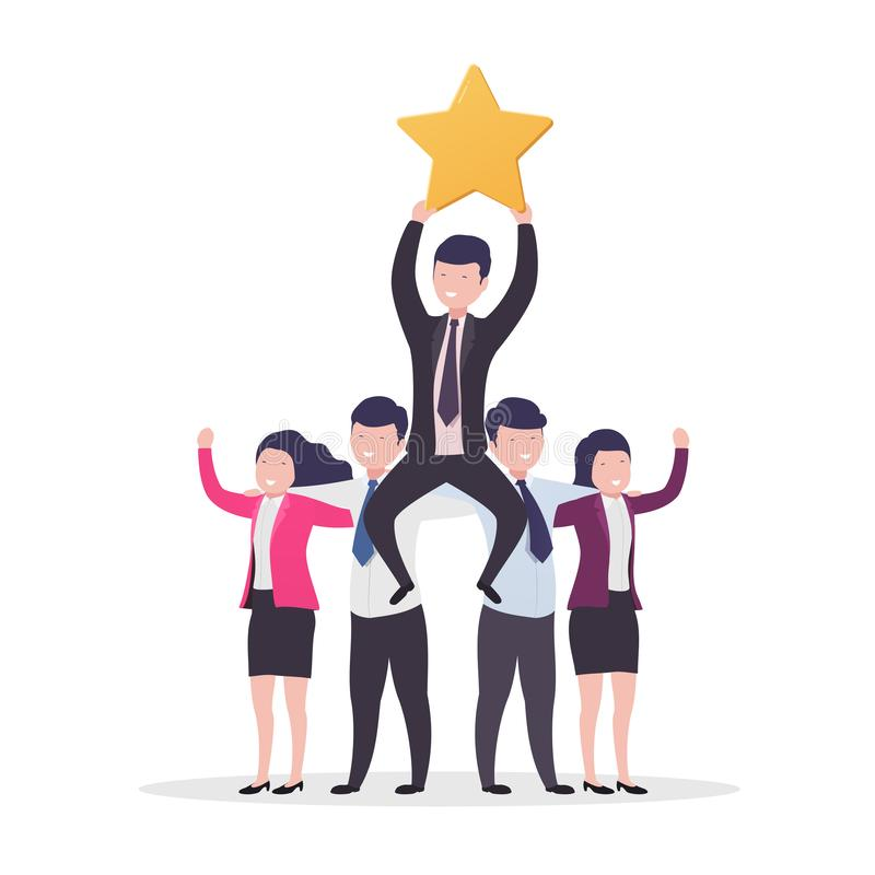Teamwork success. Business people, businessman with gold star rating and reviews royalty free illustration