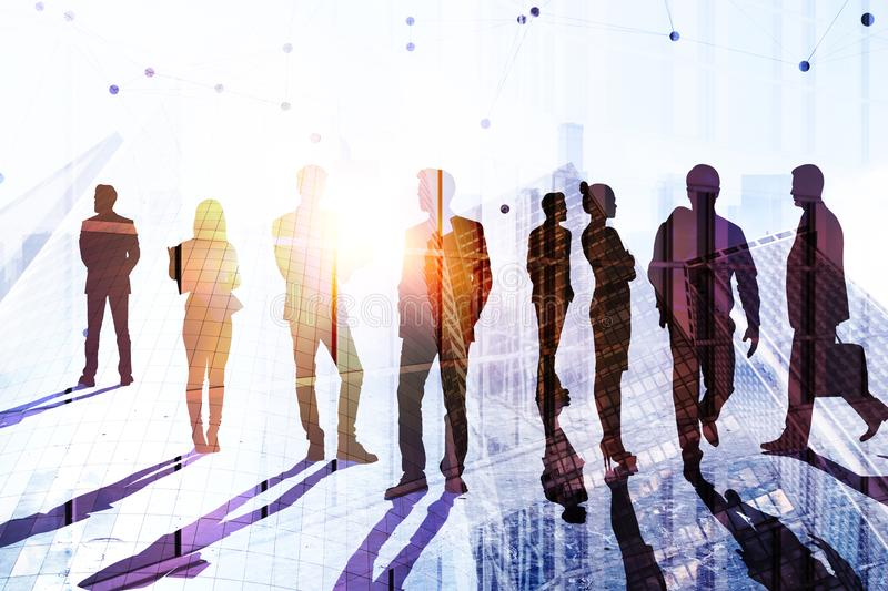 Teamwork, success and conference concept. Businesspeople silhouettes on abstract city background with sunlight. Double exposure stock illustration