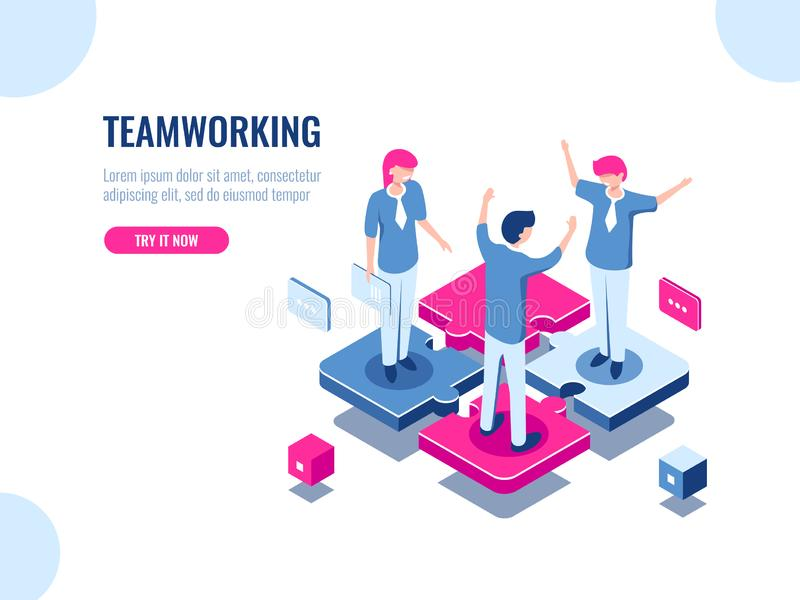 Teamwork success isometric icon, puzzle business solution, working together, association of people, startup, flat vector royalty free illustration