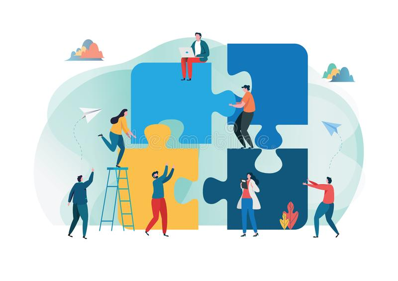 Teamwork successful together concept. Marketing content. Business People Holding the big jigsaw puzzle piece. Flat cartoon stock illustration
