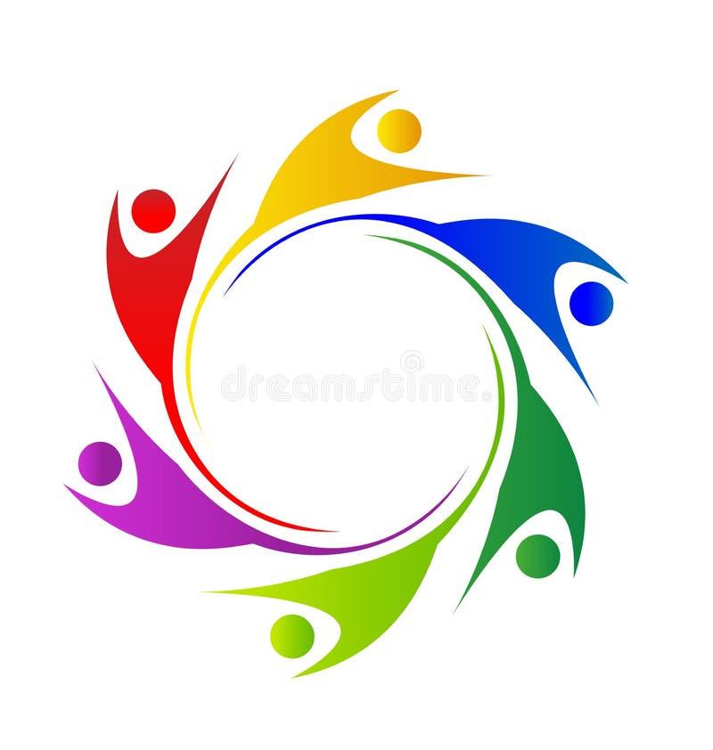 Teamwork swooshes in a circle people logo. Teamwork reaching their goals swooshes people logo vector design royalty free illustration