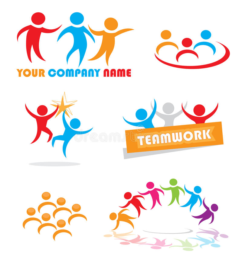 Teamwork symbols. A set of various abstract website elements symbolizing teamwork; working together successfully. Eps file available stock illustration