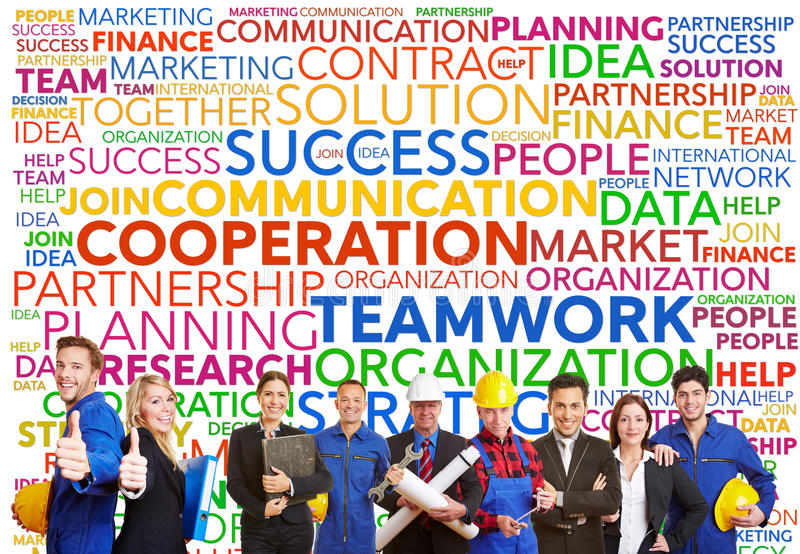 Teamwork tag cloud with different workers stock photos