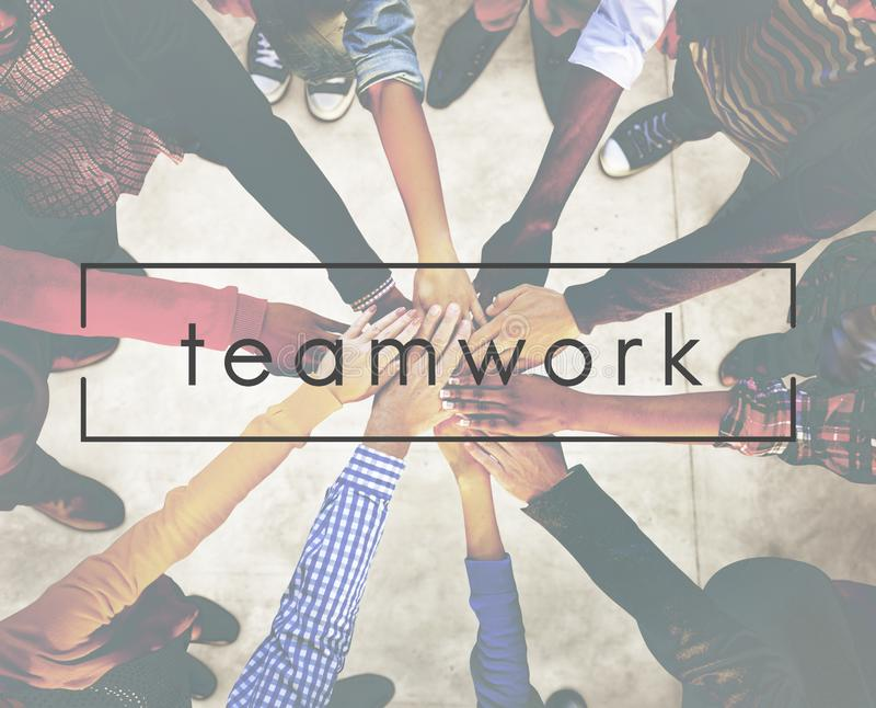 Teamwork Team Building Cooperation Relationship Concept stockbilder