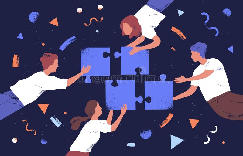 Teamwork and team building flat vector illustration. Coworkers assembling jigsaw puzzle cartoon characters. Coworking stock illustration
