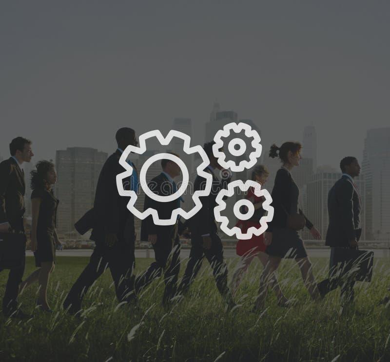 Teamwork Team Collaboration Connection Gear Organisation.  vector illustration