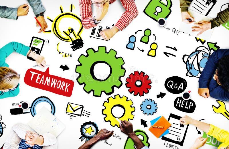 Teamwork Team Collaboration Connection Togetherness Unity Concep stock illustrationer