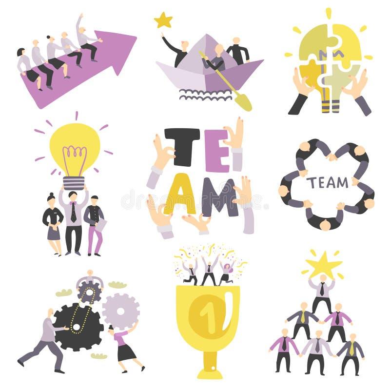 Teamwork Symbols Set stock illustration