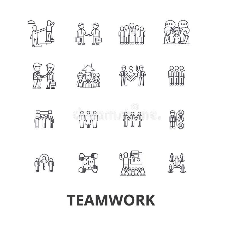 Teamwork, team, concept, working together, collaboration, success, partnership line icons. Editable strokes. Flat design stock illustration
