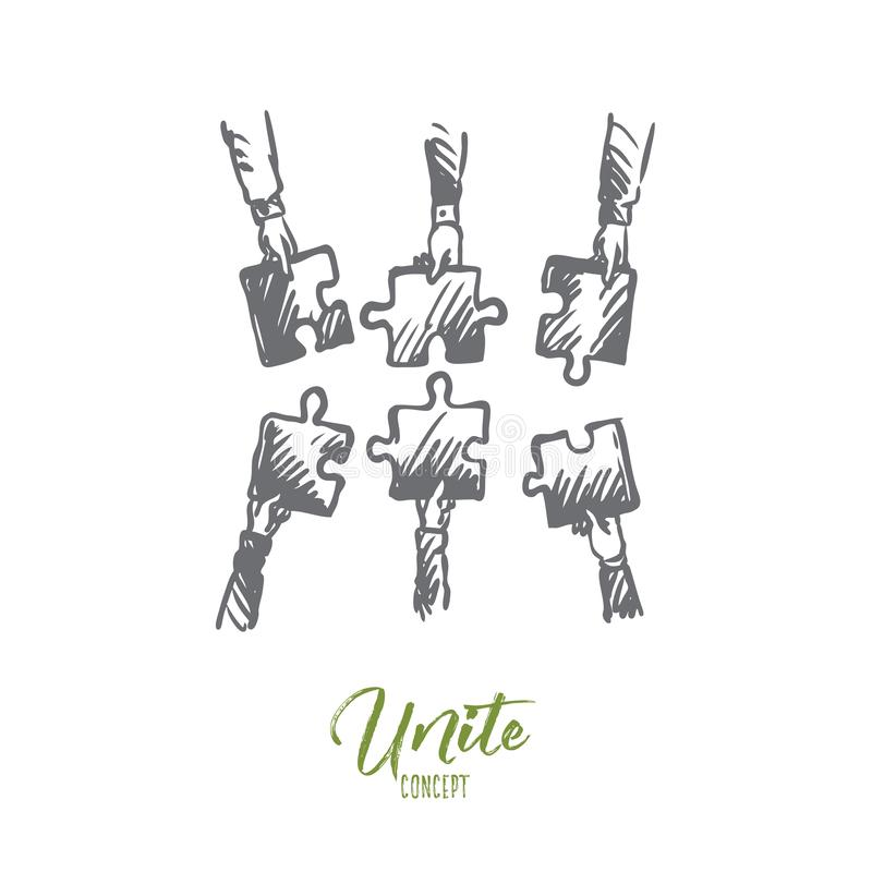 Teamwork, team, people, unite concept. Hand drawn isolated vector. vector illustration