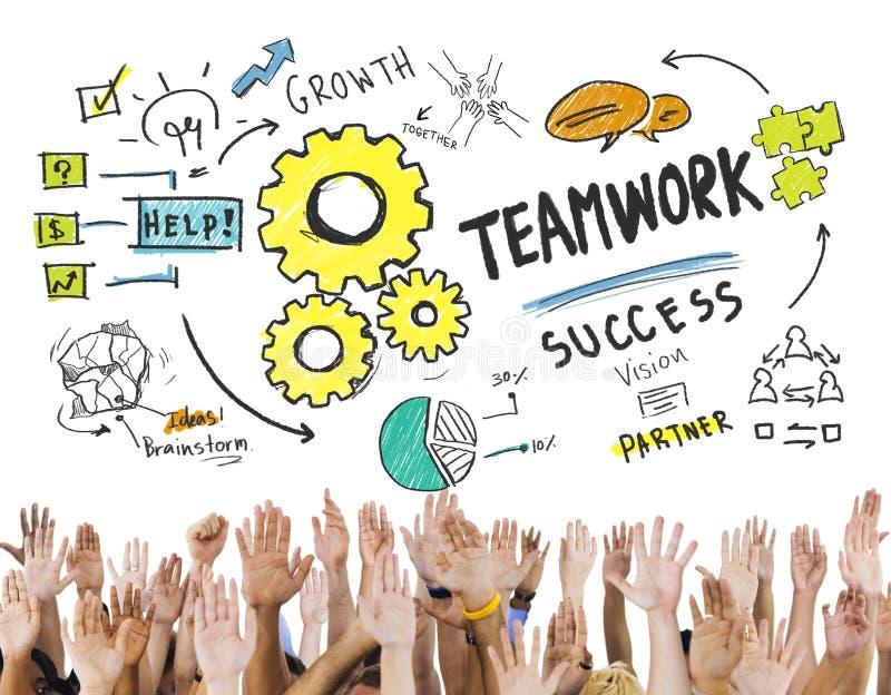 Teamwork Team Together Collaboration Hands Volunteer Concept stock illustration