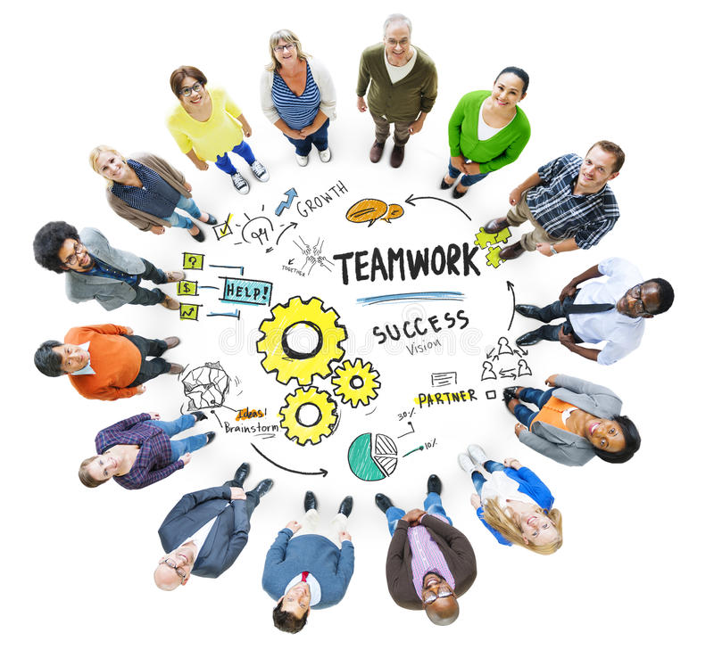 Teamwork Team Together Collaboration Meeting Looking Up Concept.  royalty free illustration