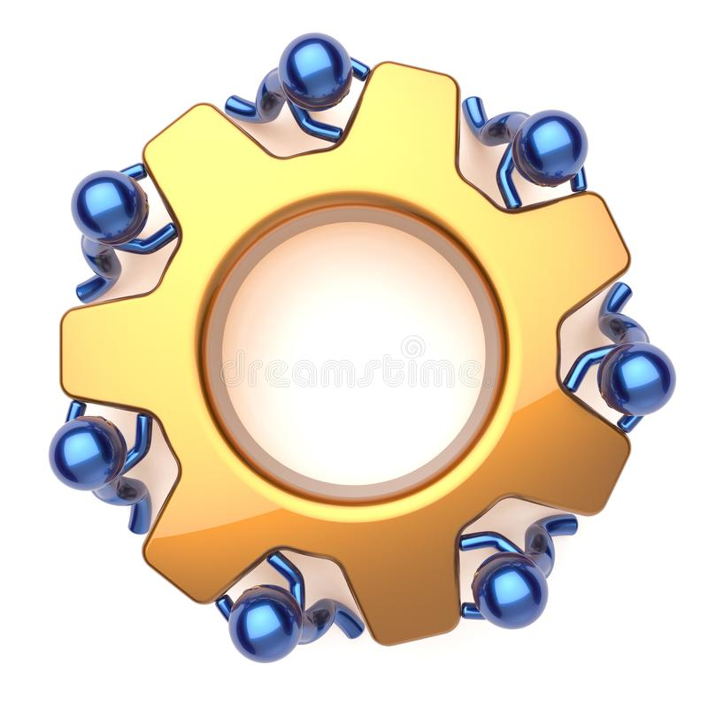 Teamwork team work business process workers activism. Teamwork team work business process workers turning gear wheel together. Partnership manpower cooperation royalty free illustration