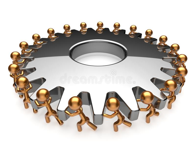 Teamwork team work hard job business men turning gear. Gear wheel teamwork team work hard job business process men turning gearwheel together. Brainstorming stock illustration