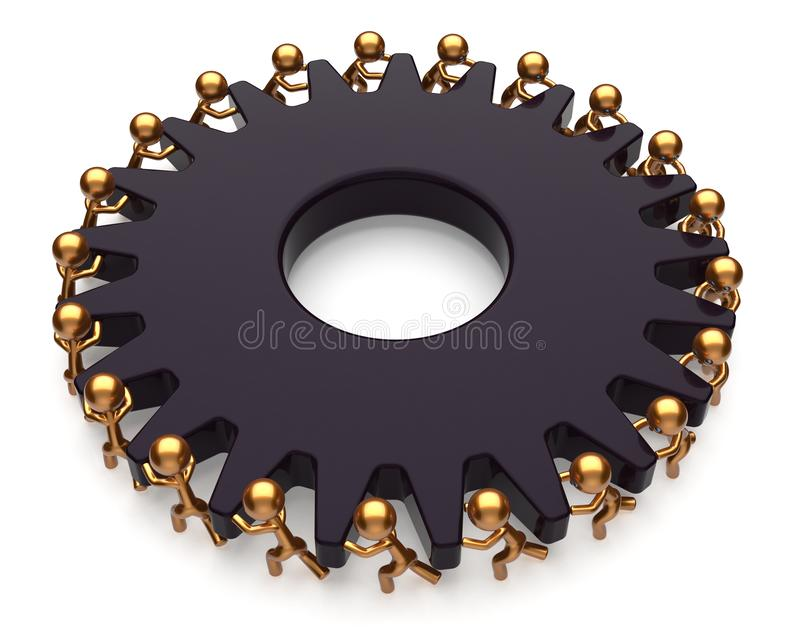 Teamwork team work job business process men black gear. Gearwheel teamwork team work hard job business process men turning black giant gear wheel together stock illustration