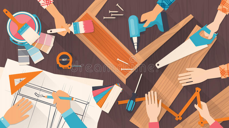 Teamwork. Team of workers using DIY tools and working on a carpentry project royalty free illustration