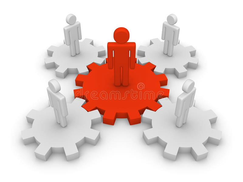 Teamwork with teamleader. 3d people with leader standing on gears stock illustration