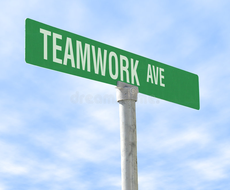 Teamwork Themed Street Sign royalty free stock photography