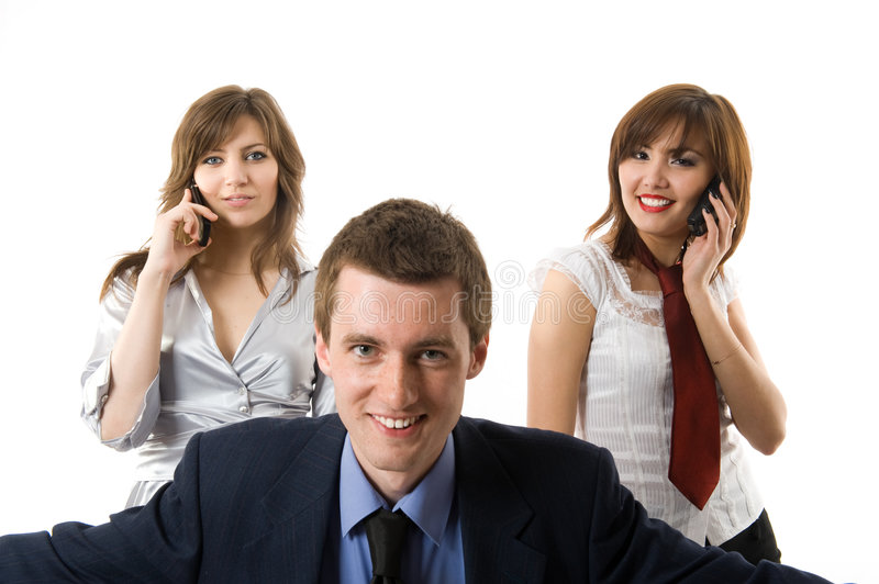 Teamwork. Three business people. Smiling persons royalty free stock image