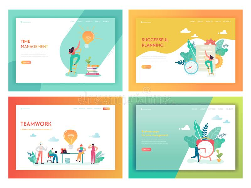 Teamwork Time Management Landing Page Template. Business Planning Strategy Concept with Characters Working Creative Idea. Teamwork Time Management Landing Page vector illustration