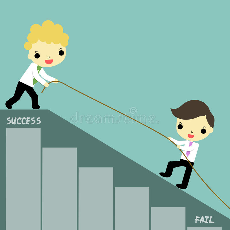 Teamwork to success. One businessman was helped by businessman carry rope who stand at success position royalty free illustration