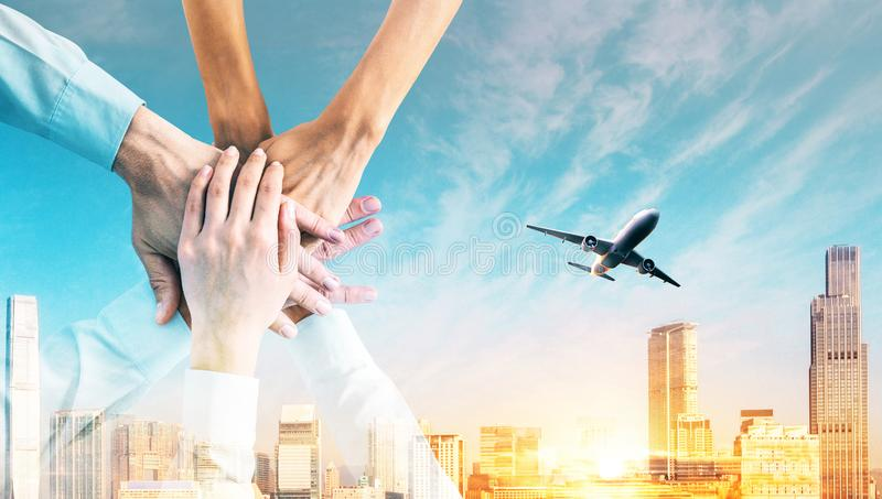 Teamwork and travel concept royalty free stock photo