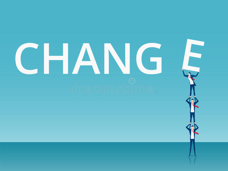 Teamwork- und Änderungskonzept Geschäftsteam, das E zum erfolgreichen Bannwort anhebt und drückt vektor abbildung