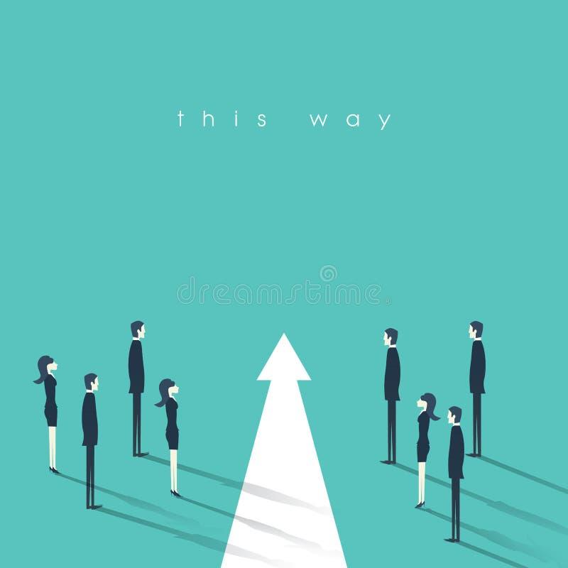 Teamwork und Führungsgeschäftskonzeptvektorillustration Symbol von Entschiedenheit, rechte Entscheidung, Planung, Strategie stock abbildung