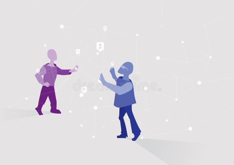 Teamwork Utveckling av ett komplext system eller ett kommunikationsnätverk Schematiskt tecknad filmfolk och nätverk stock illustrationer