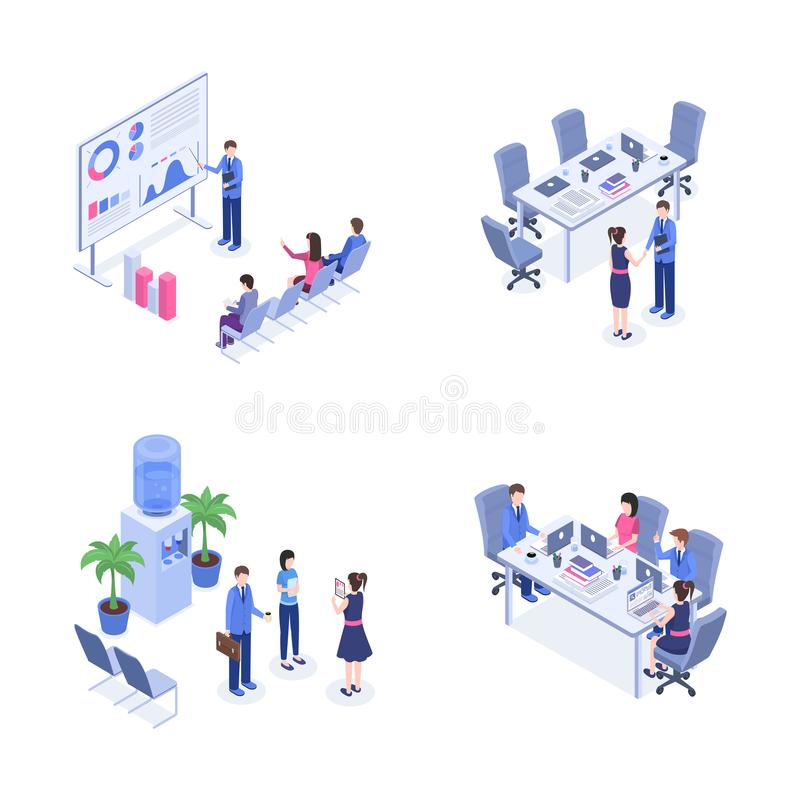 Teamwork vector color isometric illustrations set. Business people, managers, employees at workplace 3d cartoon stock illustration