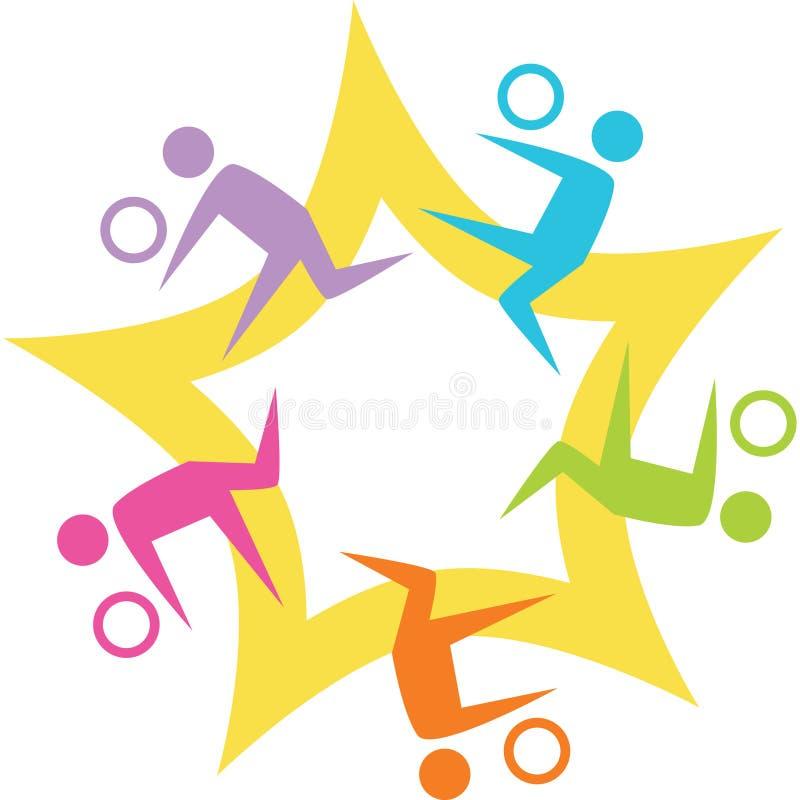 Teamwork Volleyball Starburst stock illustration