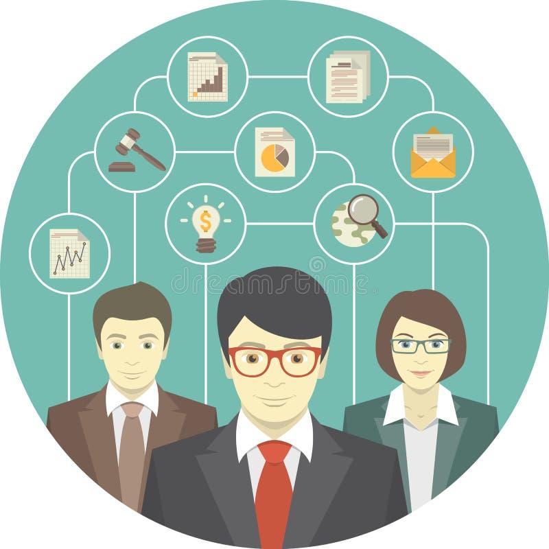 Teamwork von Fachleuten lizenzfreie abbildung