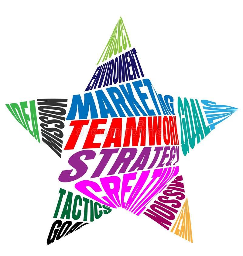 Teamwork-Wörter und -bedeutung in einem Stern formen die bunte Vektorikone lizenzfreie abbildung