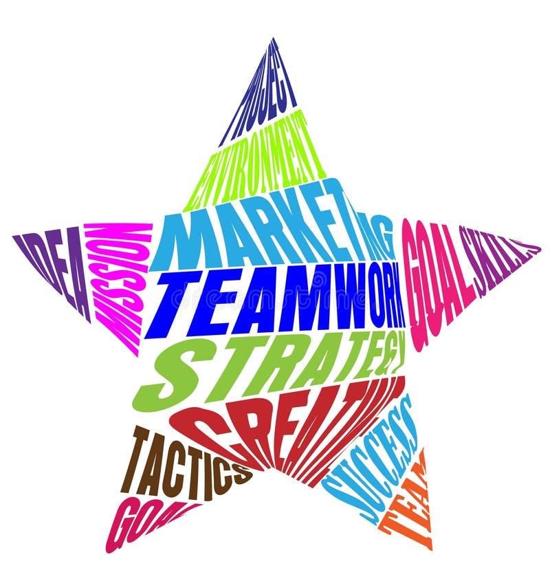 Teamwork-Wörter und -bedeutung in einem Stern formen die bunte Vektorikone stock abbildung