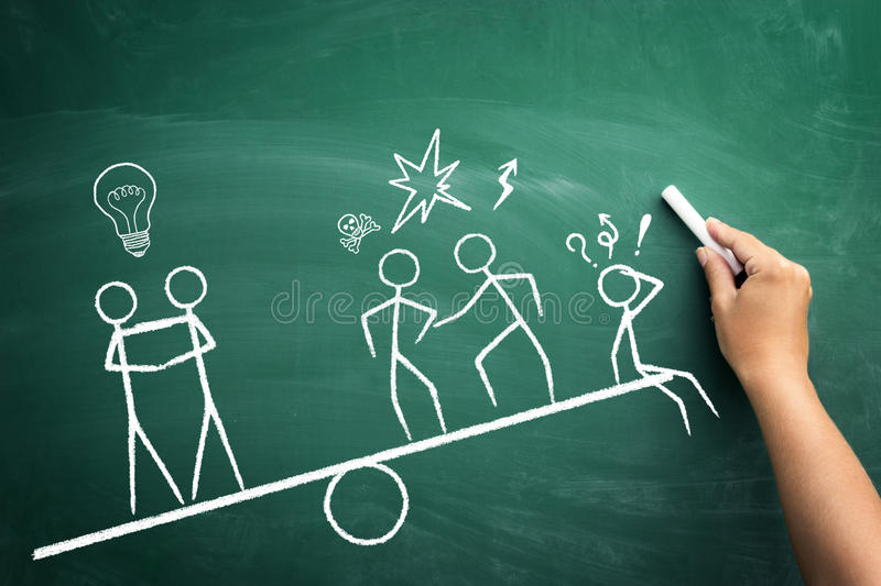 Teamwork wins. Business sketch on green blackboard royalty free stock photos