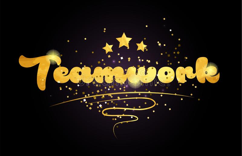 teamwork star golden color word text logo icon stock illustration