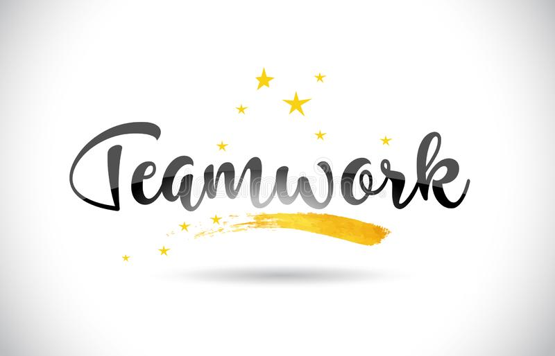 Teamwork Word Vector Text with Golden Stars Trail and Handwritten Curved Font. vector illustration