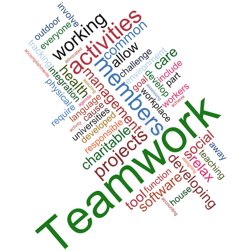 Teamwork wordcloud stock illustration
