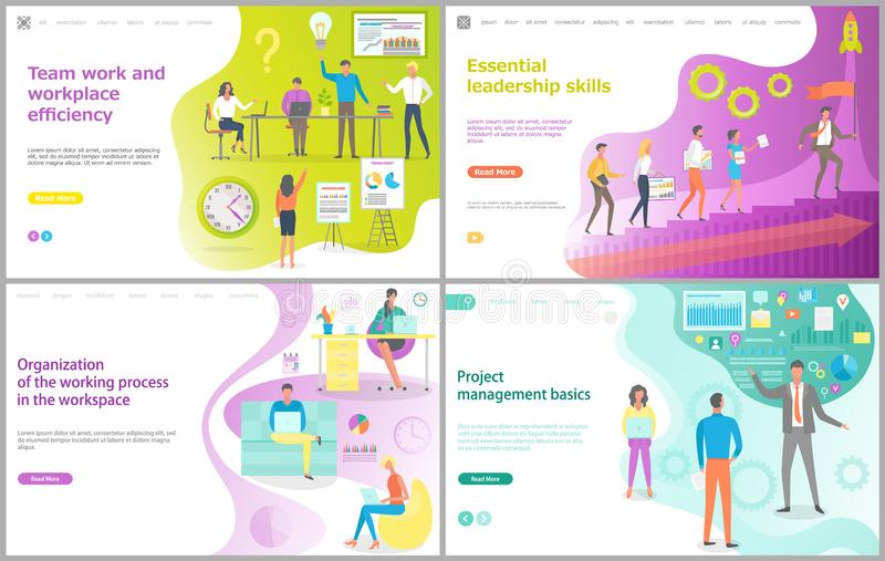 Management Project and Teamwork, Web Page Vector stock illustration