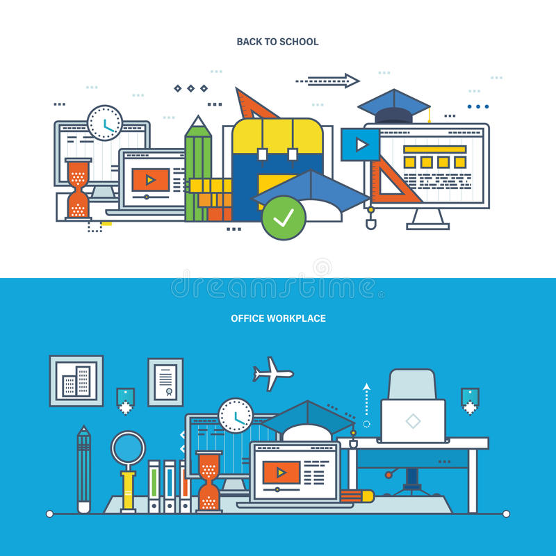 Teamwork, workplace, modern education, learning, collaboration, research and technology. vector illustration