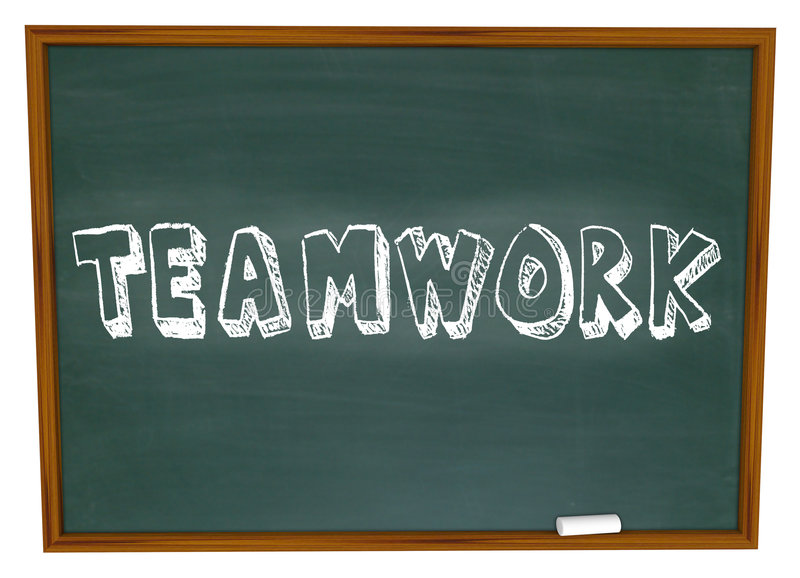 Teamwork Written on Chalkboard. The word Teamwork is Written on a Chalkboard stock illustration