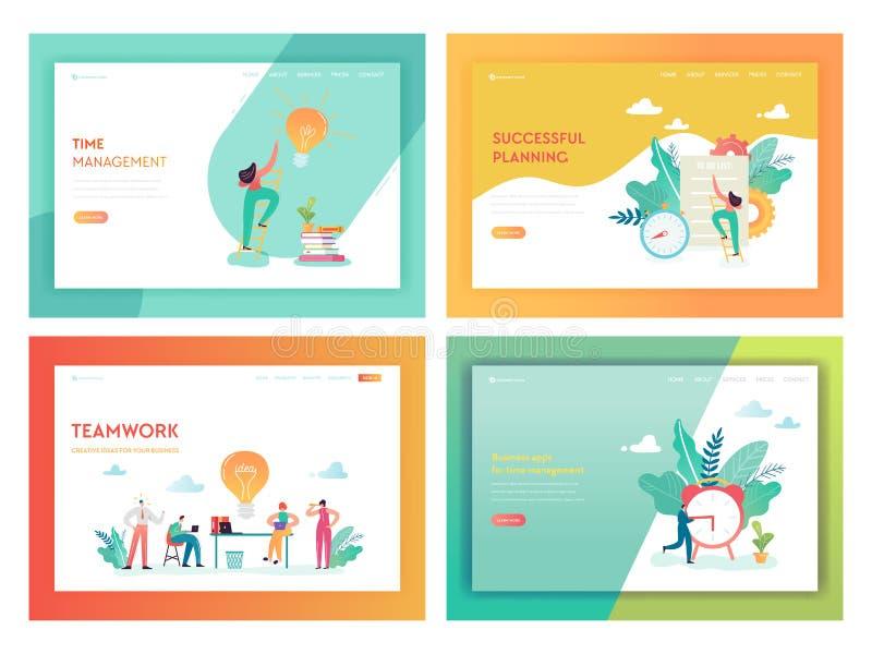 Teamwork-Zeit-Management-Landungs-Seiten-Schablone Unternehmensplanungs-Strategie-Konzept mit den Charakteren, die kreative Idee  vektor abbildung
