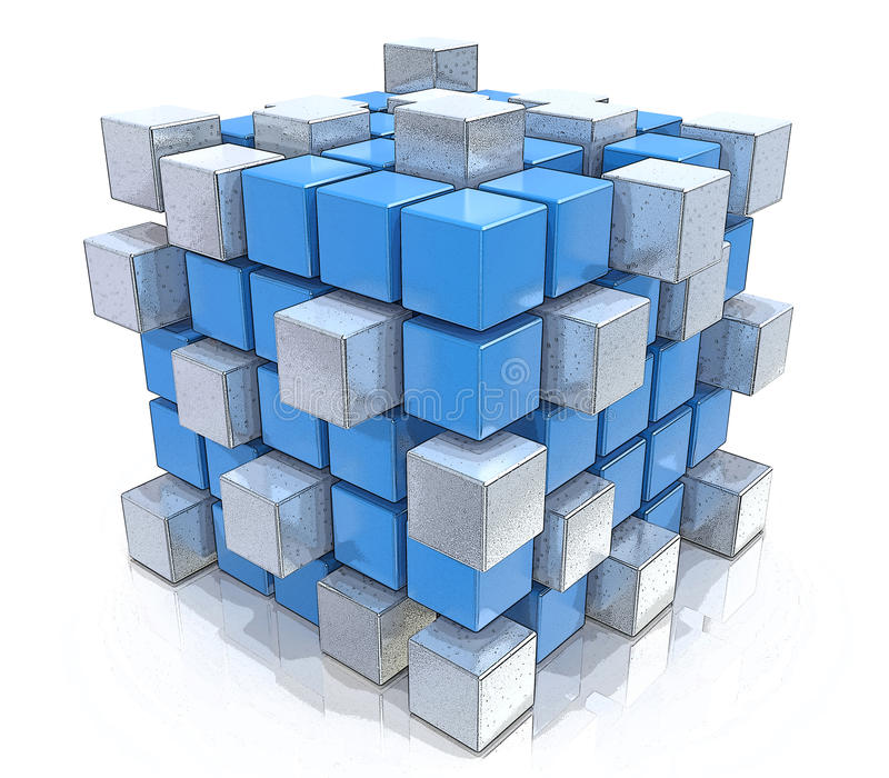 Teamworkaffärsidé - kub som monterar från kvarter vektor illustrationer