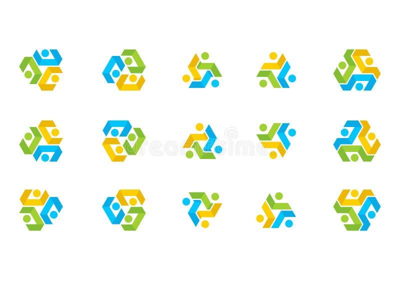 Teamworkanslutningslogo, illustrationutbildningslag, social vektor för fastställd design för nätverk royaltyfri illustrationer