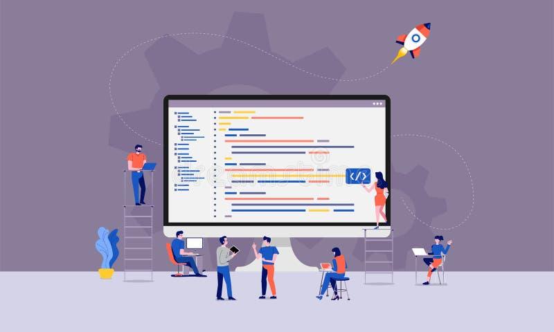 Teamworkbärareprogrammerare stock illustrationer