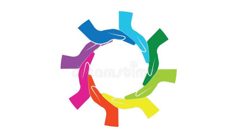 Teamworkbegrepp - händer sammanfoga teamworksymbolet - portiontecken vektor illustrationer